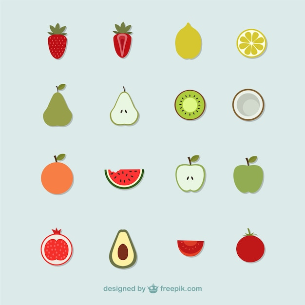 Fruit icons Free Vector