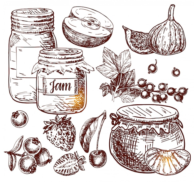 Fruit jam glass jar vector drawing. jelly and marmalade with strawberry, cherry, blueberry, apple, figs and orange Premium Vector