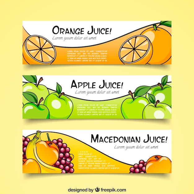 Fruit Juice Banner Collection Free Vector