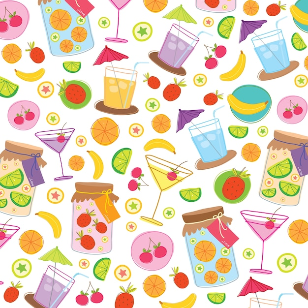 Fruit juice drink cute cartoon gift wrapping design vector Premium Vector