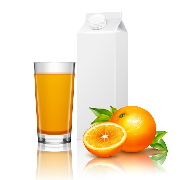Fruit juice packaging realistic composition Free Vector