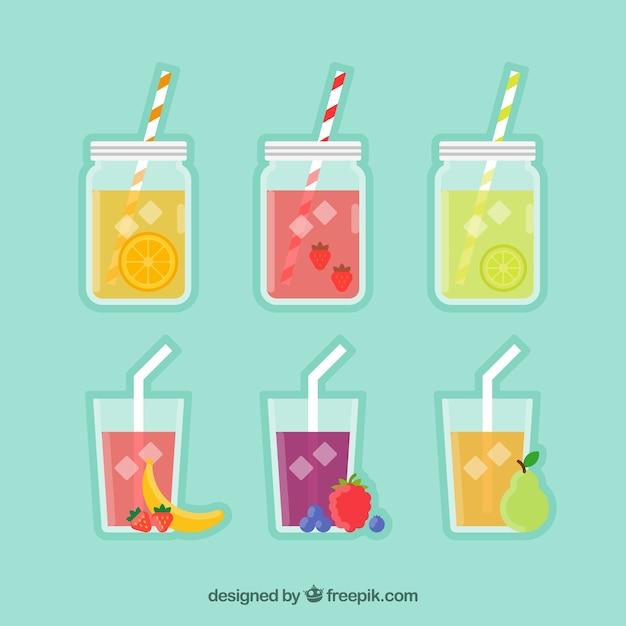 Fruit juices pack in flat design