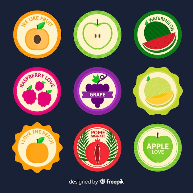 Fruit label collection Free Vector