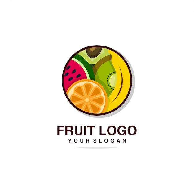 Фруктовый логотип со свежим дизайном шаблона, банан, апельсин, фрукты, свежие, здоровье, бренд, компания, Premium векторы