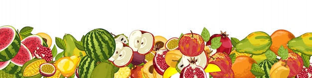 Fruit mix with leaves Premium Vector