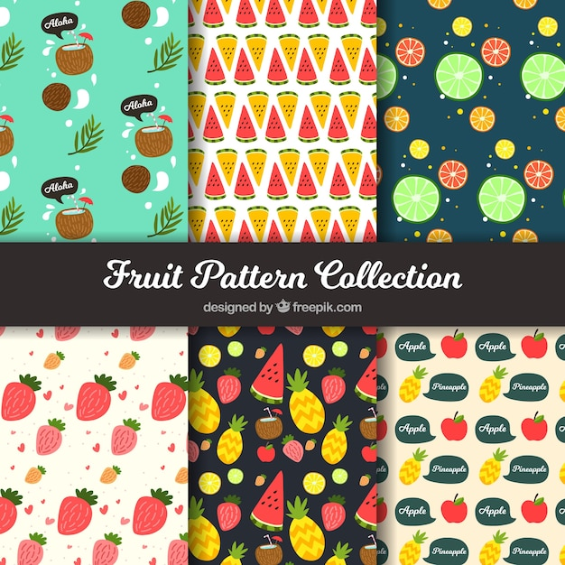Fruit pattern collection Free Vector