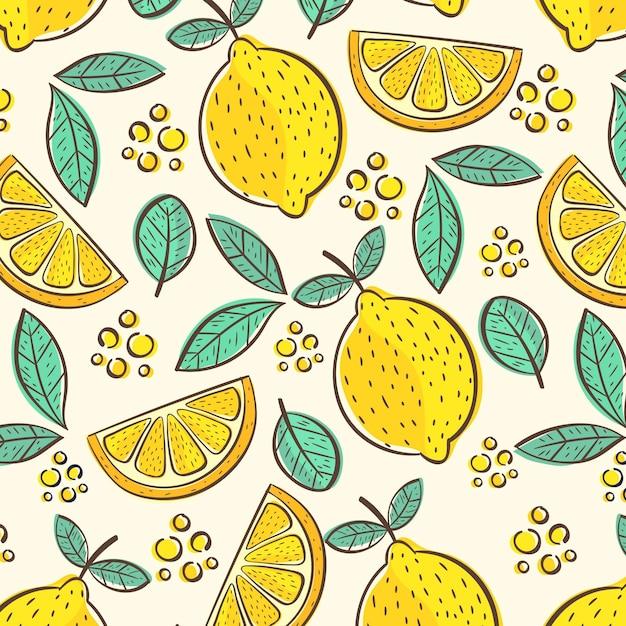 Fruit pattern with lemon Free Vector