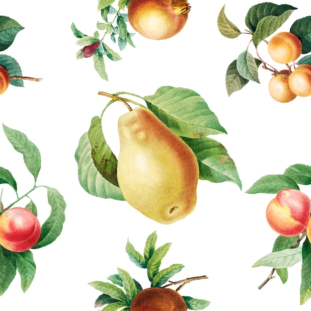 Fruit patterned background Free Vector