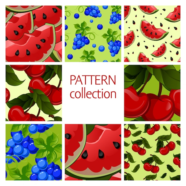 Fruit patterns seamless collection. Premium Vector