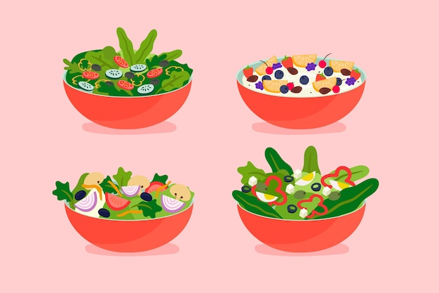 Fruit and salad bowl collection Free Vector