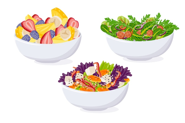 Fruit and salad bowl pack Free Vector