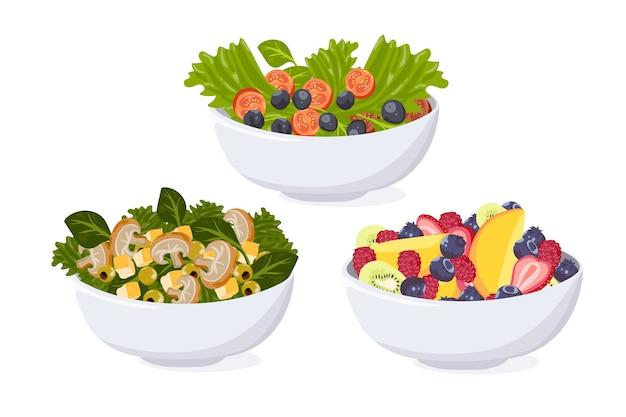 Fruit and salad bowl set Free Vector