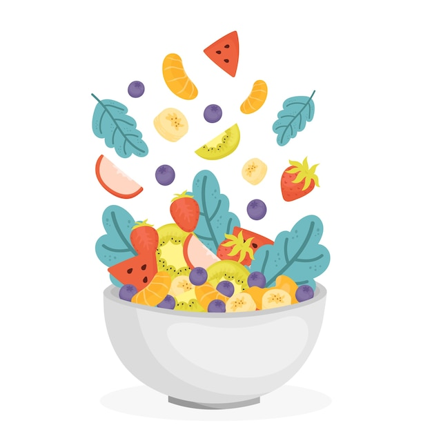 Fruit and salad bowl Free Vector
