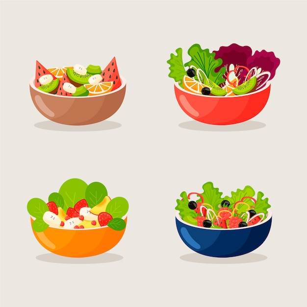 Fruit and salad bowls collection Free Vector