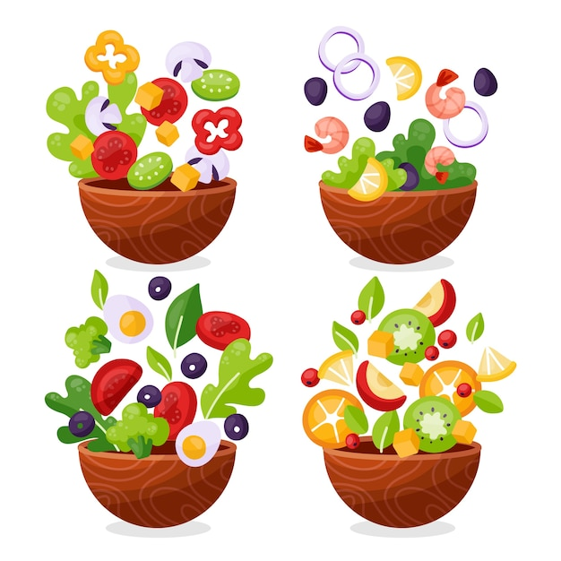 Fruit and salad bowls collection Premium Vector