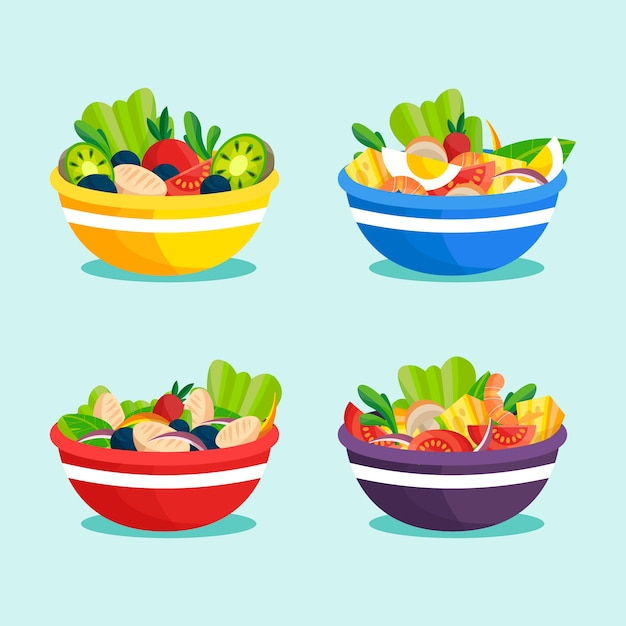 Fruit and salad bowls concept Premium Vector
