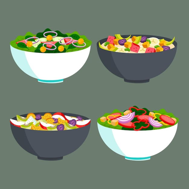 Fruit and salad bowls concept Free Vector
