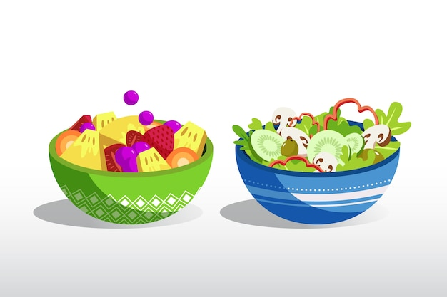Fruit and salad bowls design Free Vector