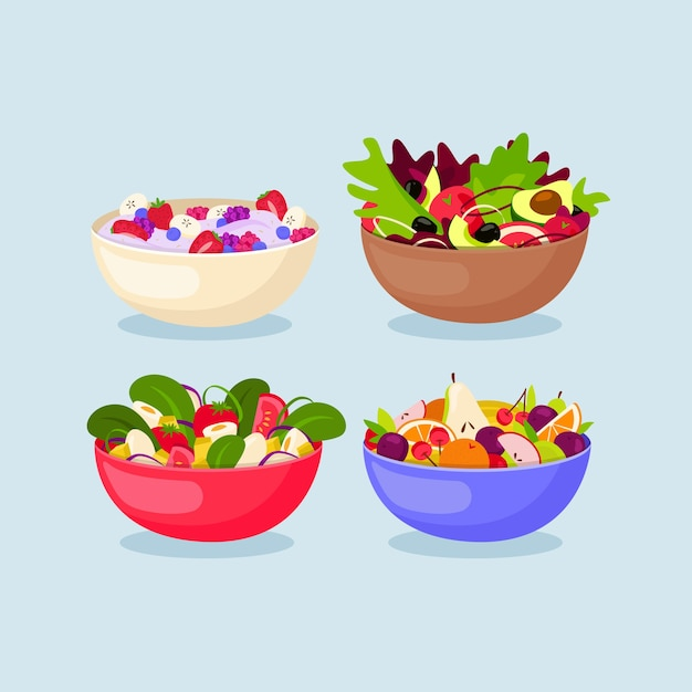 Fruit and salad bowls design Free Vector
