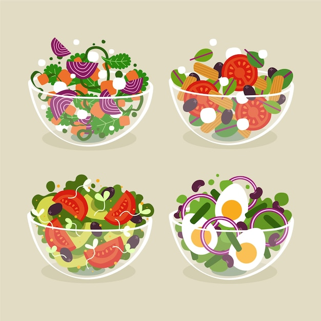 Fruit and salad bowls flat style Free Vector
