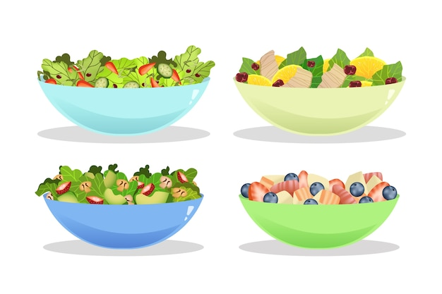 Fruit and salad bowls pack Free Vector