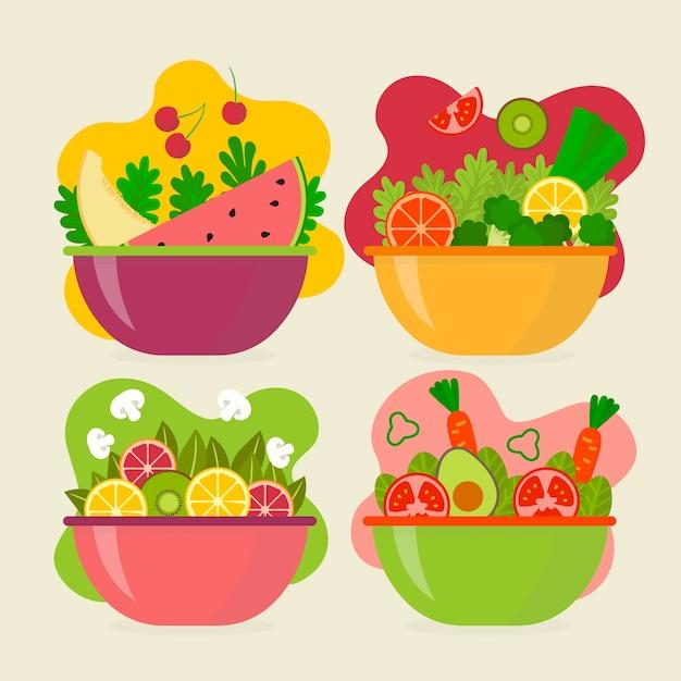 Fruit salad bowls Free Vector