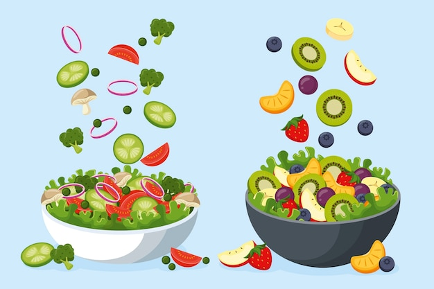Fruit and salad in bowls Free Vector