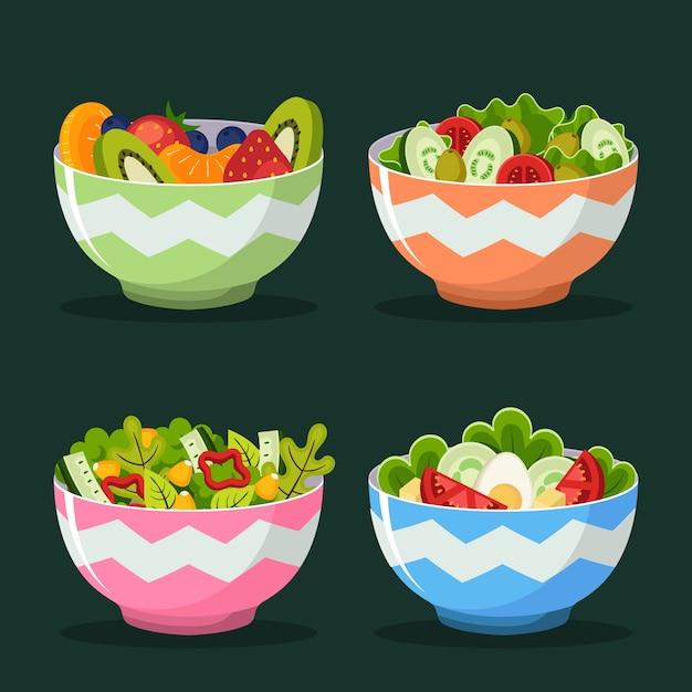 Fruit and salad bowls Free Vector
