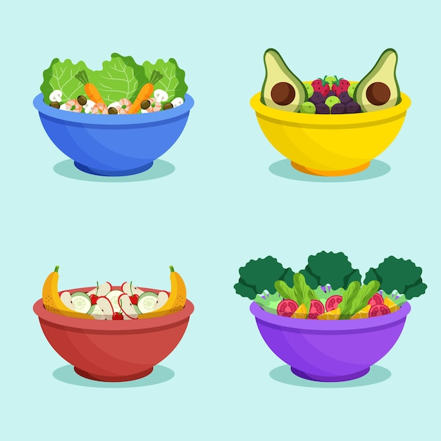 Fruit and salad bowls Free Vector