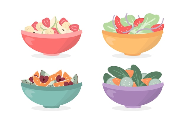 Fruit and salad bowls Premium Vector