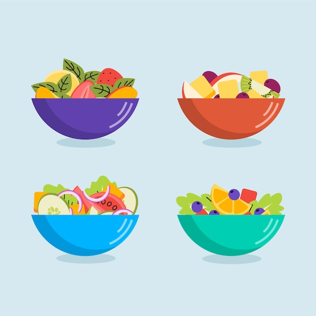 Fruit and salads in different coloured bowls Free Vector