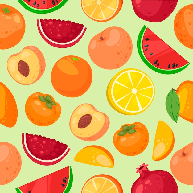 Fruit seamless pattern.ganic and natural  food products. Premium Vector