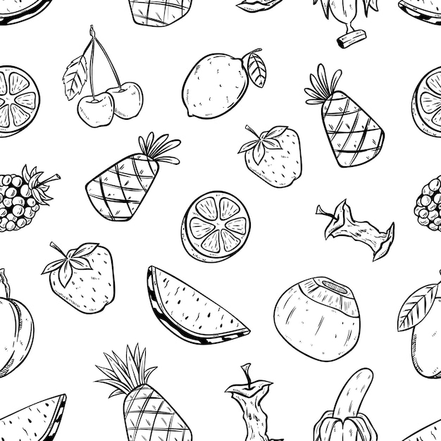 Fruit seamless pattern with sketch style Premium Vector
