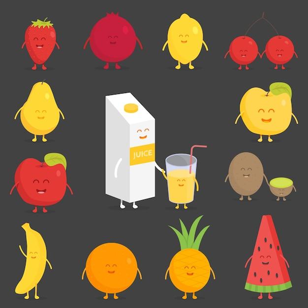 Набор фруктов. клубника, гранат, лимон, вишня, груша, яблоко, киви, банан, ананас, апельсин, арбуз Premium векторы
