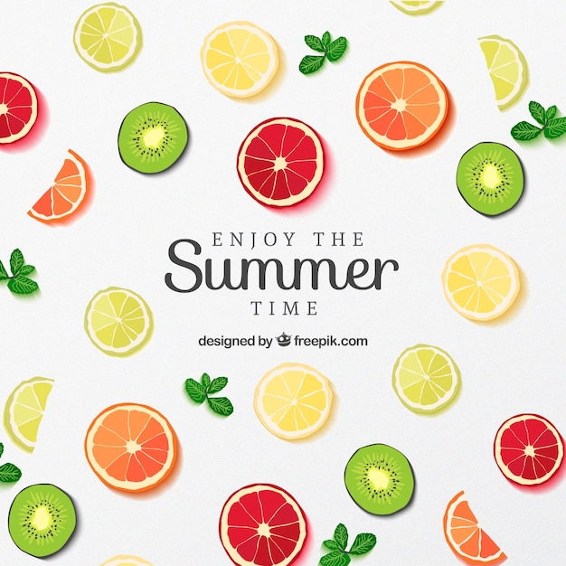Fruit slices poster for summer Free Vector