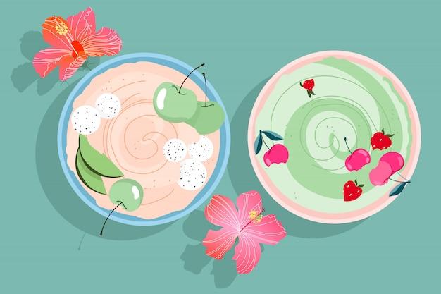 Фруктовые смузи чаши. современные рисованной смузи чаши с вишней, клубникой и яблоками. цветы гибискуса и летний завтрак на столе. тропические чаши. модные изолированные элементы дизайна. Premium векторы