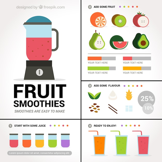 Fruit smoothies Free Vector