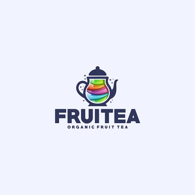 Fruit tea logo Premium Vector