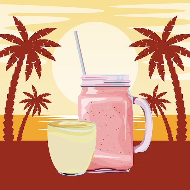 Fruit tropical smoothie drink cartoon Free Vector