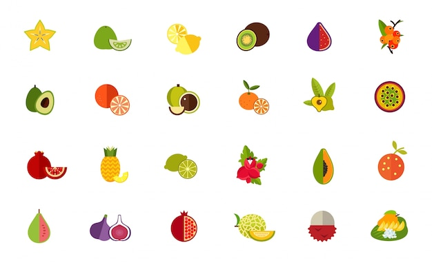 Fruit variety icon set Free Vector