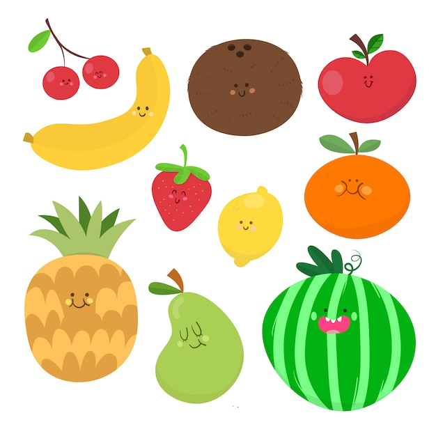 Fruit vector drawing collection Premium Vector