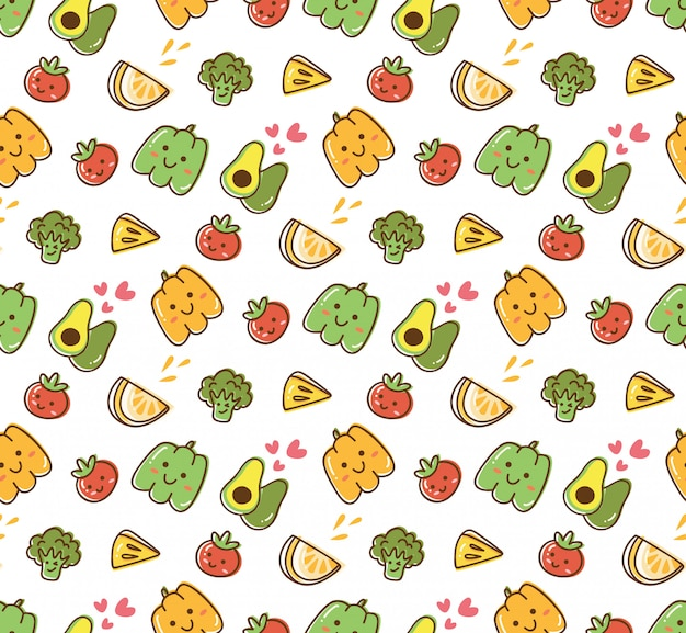 Fruit and vegetable kawaii background Premium Vector