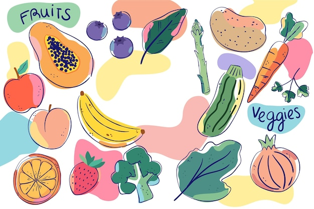 Fruit and vegetables background style Free Vector