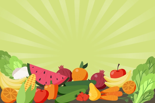 Fruit and vegetables background theme Free Vector