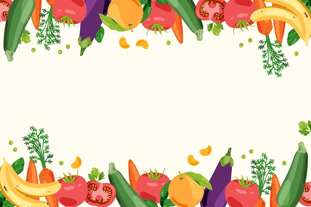 Fruit and vegetables background Free Vector
