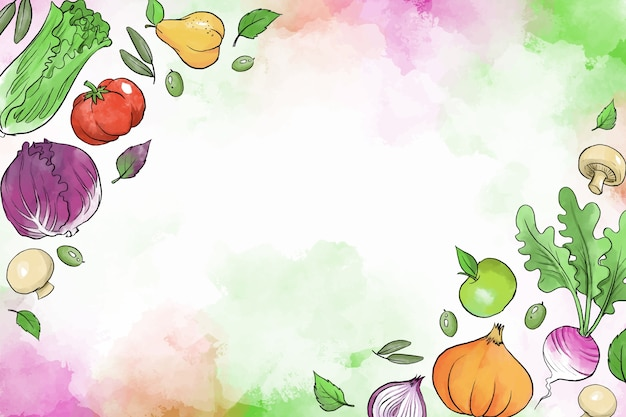 Fruit and vegetables hand drawn background Free Vector
