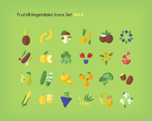 Fruit and vegetables icons set.   illustration. Premium Vector