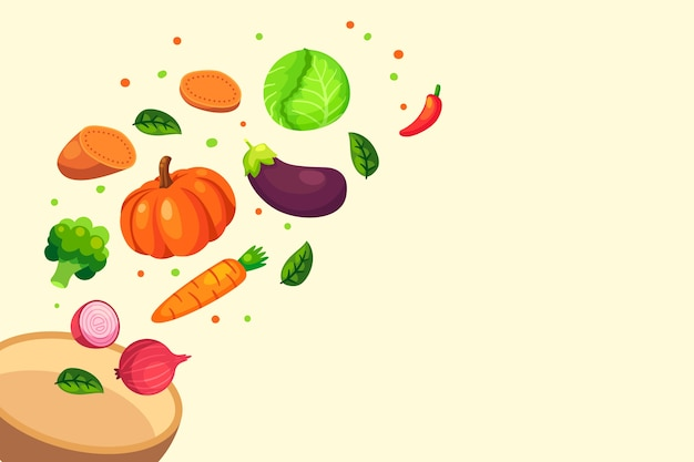 Fruit and vegetables isolated on background Free Vector