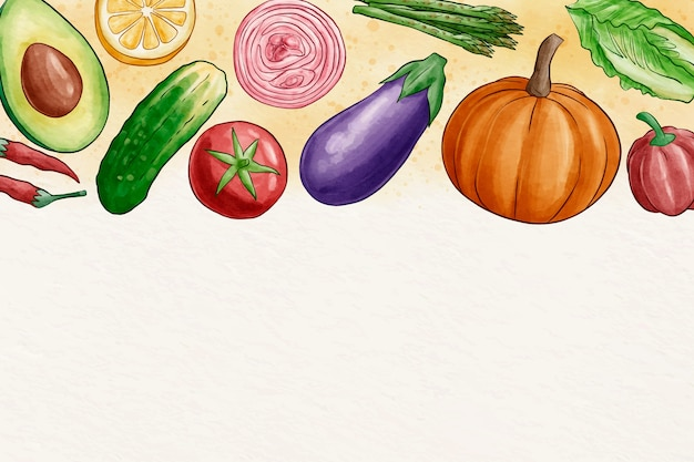 Fruit and vegetables wallpaper with copy space Free Vector