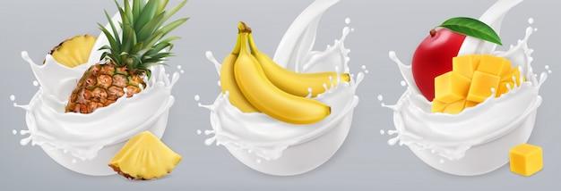 フルーツヨーグルト。バナナ、マンゴー、パイナップル、牛乳の水しぶき。 3 dのリアルなアイコンセット Premiumベクター